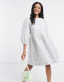 Свободное стеганое платье с комбинированным анималистичным принтом-Многоцветный Pieces 10049243