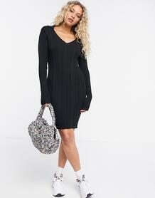 Черное платье мини в рубчик с воротником -Черный цвет Weekday 10415325