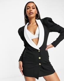 Трикотажный удлиненный пиджак с контрастным воротником и объемными рукавами -Черный ASOS DESIGN 10321258