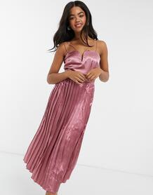 Розовое атласное платье миди с плиссированной юбкой -Розовый Little Mistress 10524958