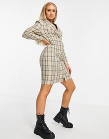 Бежевое платье-блейзер мини в клетку -Neutral NA-KD 10405765