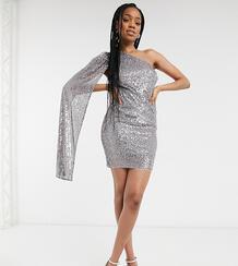 Платье мини стального серого цвета с пайетками, открытым плечом и расклешенным рукавом из эксклюзивной коллекции для высоких -Серый Jaded Rose Tall 10542766