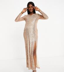 Золотистое платье макси с пайетками, глубоким декольте и разрезом до бедра JadedRoseMaternity-Золотой Jaded Rose Maternity 10542190