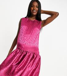 Розовое платье миди с заниженным подолом и леопардовым принтом -Мульти Queen Bee 10997193