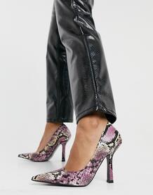 Разноцветные туфли-лодочки с квадратным задником и эффектом змеиной кожи Primary-Многоцветный ASOS DESIGN 10441017