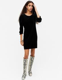 Черное бархатное платье мини c широкими рукавами Wilma-Черный цвет Monki 10967649
