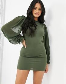 Полупрозрачное платье мини цвета хаки с объемными рукавами -Зеленый цвет Femme Luxe 11003081