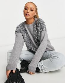 Серый свитер с декоративной отделкой Wild Flower 10769744