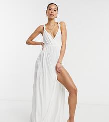 Белое пляжное платье макси из переработанного материала на бретелях с узелками ASOS DESIGN Tall-Белый Asos Tall 10912678