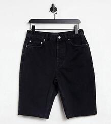 Черные выбеленные удлиненные шорты в стиле 90-х из органического денима ASOS DESIGN Tall-Черный цвет Asos Tall 11059081
