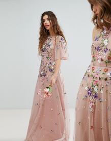 Платье макси из сетки добби с цветочной вышивкой и рукавами клеш -Мульти ASOS DESIGN 6663557