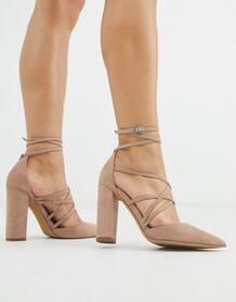 Серо-коричневые туфли на высоком каблуке -Бежевый ASOS DESIGN 9066286