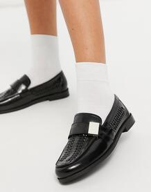 Черные кожаные лоферы с плетеной отделкой Mina-Черный цвет ASOS DESIGN 10807692