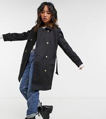 Черный тренч ASOS DESIGN Petite-Черный цвет Asos Petite 11068998