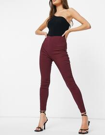 Бордовые зауженные брюки с завышенной талией -Красный ASOS DESIGN 10636217