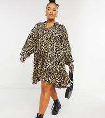 Платье-рубашка трапеция мини с баской и звериным принтом ASOS DESIGN Curve-Многоцветный Asos Curve 10900773