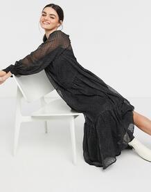 Черно-белое свободное ярусное платье макси из ткани добби в горошек -Многоцветный ASOS DESIGN 10865439