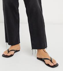 Черные кожаные шлепанцы для широкой стопы с квадратным носом -Черный Rule London 9445098