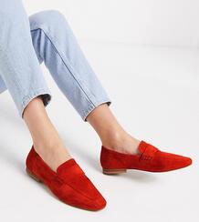 Замшевые лоферы томатно-красного цвета для широкой стопы -Красный ASOS DESIGN 9144515