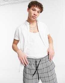 Белая оксфордская рубашка узкого кроя -Белый ASOS DESIGN 9630348