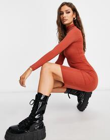 Базовое платье рыжего цвета в рубчик с отворачивающимся воротником и длинными рукавами -Оранжевый цвет Flounce London 11313760