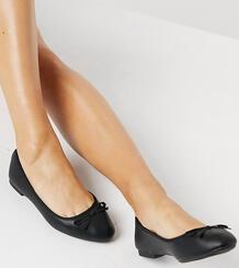 Черные балетки на плоской подошве для широкой стопы New Look-Черный цвет New Look Wide Fit 11308960