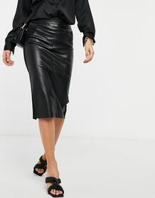 Черная юбка-карандаш миди из искусственной кожи -Черный River Island 10731331