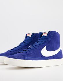 Замшевые кроссовки насыщенного синего цвета Blazer Mid '77-Голубой Nike 10131910