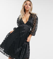 Черное платье миди из органзы-Черный MISSGUIDED 10669700