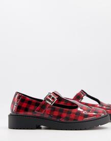 Туфли в стиле Мэри Джейн в красную клетку на плоской массивной подошве Maisie-Красный ASOS DESIGN 10868759