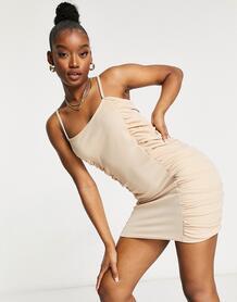 Светло-бежевое платье мини со сборками -Бежевый Femme Luxe 11102208