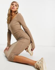 Облегающее трикотажное платье миди врубчик бежевого цвета -Бежевый NA-KD 11184501