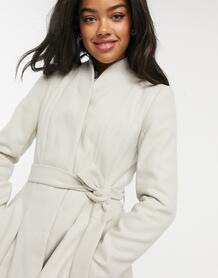Светло-бежевое приталенное пальто с поясом -Neutral ASOS DESIGN 9744439