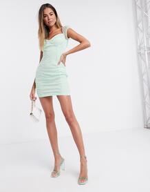 Платье мини мятного цвета со сборками -Зеленый цвет Femme Luxe 10007184