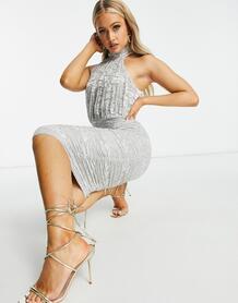Серебристое платье-футляр с вырезом под горло -Серебряный Ax Paris 10535860