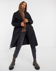 Черное оversized-пальто с запахом -Черный Jdy 10155150