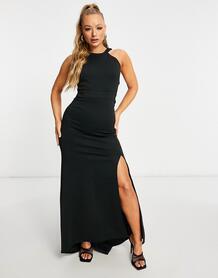 Черное платье с высоким воротом и вырезом на спине -Черный цвет Jaded Rose 11065174