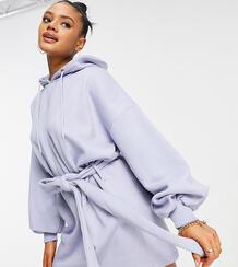 Сиреневое платье-свитшот в стиле oversized с капюшоном ипоясом -Фиолетовый цвет MISSGUIDED 11679868
