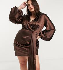 Атласное платье мини шоколадного цвета с глубоким вырезом, объемными рукавами и шлейфом на талии exclusive-Красный Jaded Rose Plus 10542295