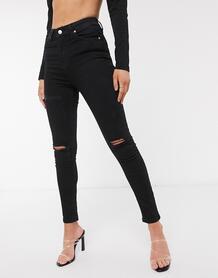 Черные джинсы скинни с рваной отделкой -Голубой NA-KD 10365622