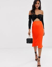 Оранжевая юбка миди косого кроя -Красный River Island 8386948