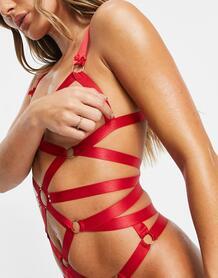 Красное боди с ремешками и открытыми чашечками Jessy-Красный Hunkemoller 11337556