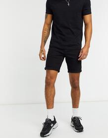 Черные джинсовые шорты узкого кроя -Черный цвет ASOS DESIGN 10459316