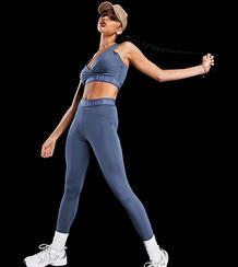 Синие леггинсы с фирменной отделкой для активных тренировок -Голубой AsYou 11403771