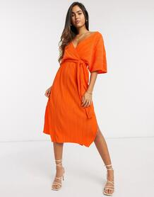 Оранжевое плиссированное платье миди с запахом и широкими рукавами -Оранжевый цвет Y.a.s 9983198