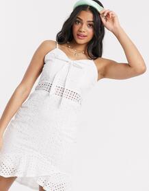 Белое платье мини с вышивкой ришелье -Белый Wild Flower 9686235