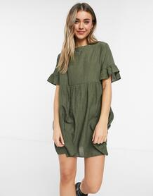 Вельветовое платье мини с присборенной юбкой цвета хаки -Зеленый цвет LOLA MAY 10779393