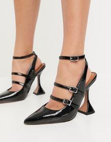 Черные туфли с пряжками на высоком каблуке Parry-Черный цвет ASOS DESIGN 10841046