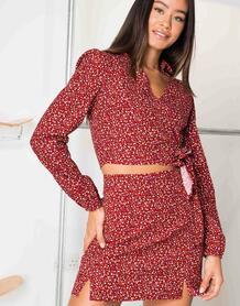 Мини-юбка с винтажным цветочным принтом -Красный Daisy Street 11096105