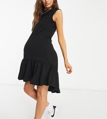 Черное платье мини с заниженным подолом Maternity-Черный цвет Queen Bee 11472312